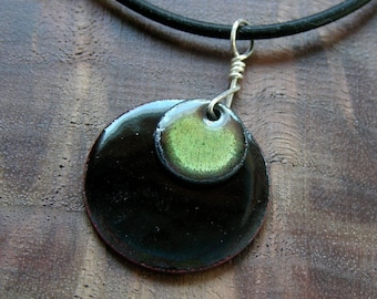 Olive green and black enamel necklace Prairie Collection Handmade jewelry