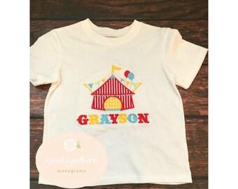 Circus shirt, circus applique shirt, circus birthday shirt, circus birthday, circus tent applique