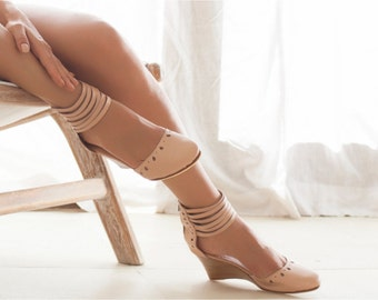 ANATOLIA. Nude leather wedges / bridal wedge / high heels / leather shoes / wedge shoes. Sizes 35-43. Available in different leather colors