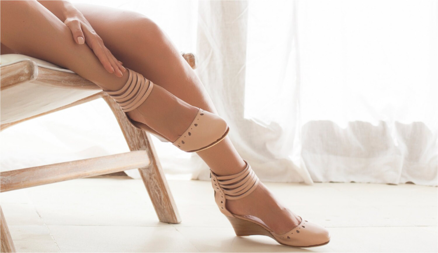 Anatolia Nude Leather Wedges Bridal Wedge High Heels
