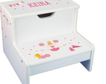 Personalized Cheerleader Blonde Pink Childrens Step And Storage Stool