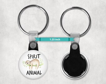 Key-ring, Sloth Spirit Animal Key Ring, Sloth Key Ring, Sloth Keyring, Sloth, button keyring, button key ring, 4