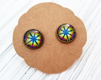 Tye Dye Kaleidoscope Flower 12mm Studs - Nickel Free