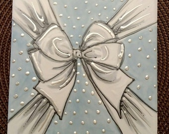Handpainted Ceramic Tile with cake bow by Colette Peters