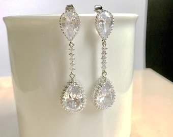 bridal earrings, silver drop wedding earrings, long earrings, bridesmaids earrings, bridal jewelry, bridesmaids gifts, rhinestone earrings