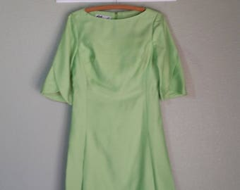 Gorgeous 1960's Structured Dress, by Nicole, SF, Light Green, Size Medium