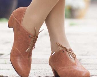 Escarpins en cuir, en cuir à talons, chaussures à la main, Mary Jane, chaussures d'hiver, Camel chaussures, livraison gratuite