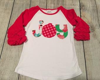 Joy shirt, girls Christmas raglan, Girls Joy shirt