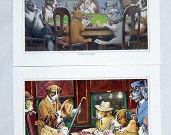 Vintage 1970's Cassius Coolidge Poker Dogs Print Portfolio