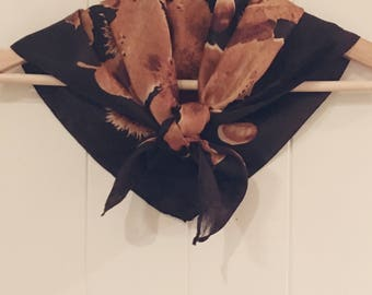 100% silk vintage scarf in gold and brown with Australian native flower and leaf pattern, made in Australia