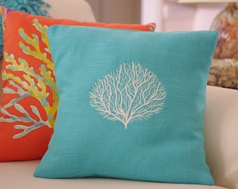 Beach Decor Linen Machine Embroidered Coral Throw Pillow - 16x16