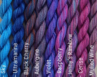 MEDIUM COTTON, Hand Dyed Embroidery Thread, 6/2 wt. (Equivalent to Perle 8)