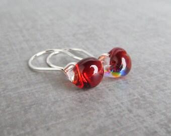 Dichroic Fire Red Drop Earrings Silver, Red Earrings, Lampwork Earrings Red Glass, Sterling Silver Earrings, Small Red Dangles, Wire Earring