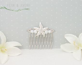 Silver starfish hair comb, white pearl hair clip, starfish hair accessories