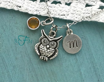 Owl Charm Necklace, Personalized Necklace, Silver Pewter Owl Charm, Custom Necklace, Swarovski Crystal birthstone, monogram