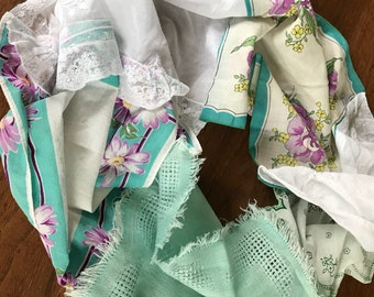 Mint and purple lacy upcycled vintage hankerchief infinity scarf