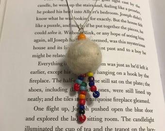Rainbow bead and felt ball necklace