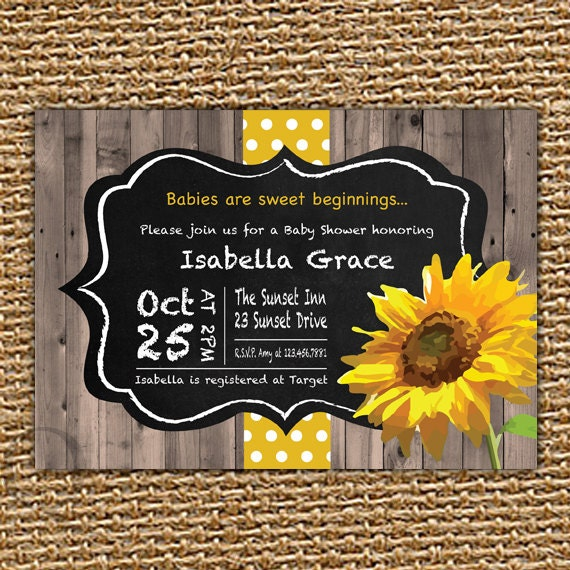 Chalkboard Sunflower Baby Invitation Fall Baby Shower