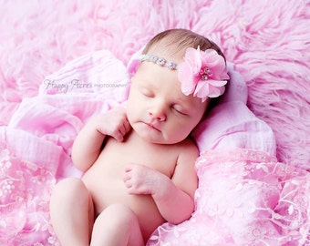 Pink Rhinestone Headband, Baby Girl Headband, Newborn Photo Prop, Baby Girl Photoprop, Photography Prop, Headband