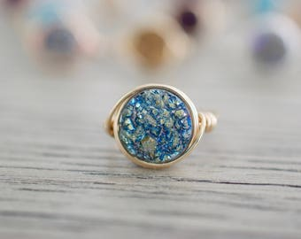 Teal Waters Druzy Ring - Druzy Round Wire Wrapped Ring - Sterling, 14kt Gold Filled, Rose Gold Filled Ring