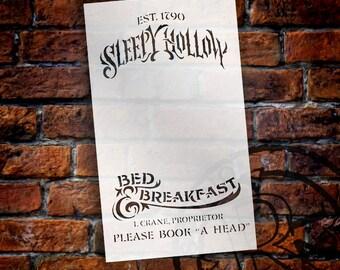 "Sleepy Hollow B&B Word Art Stencil - 7""X12""- STCL808_1 - by StudioR12"