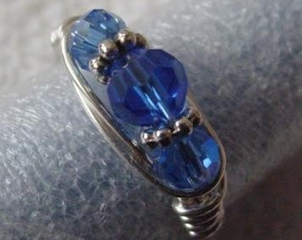 Sapphire Blue Swarovski Round Crystal and Silver Wire Wrapped Ring