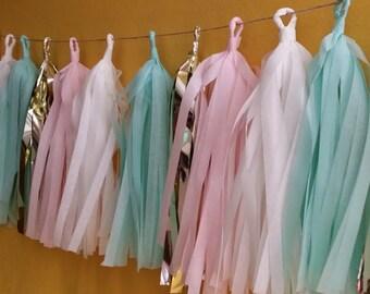 20 Tassel Tissue Paper Garland, Mint Green, Blush Pink, Party Decoration, Fringe, Birthday, Wedding Decoration, Balloon Tassels, Party, Prop