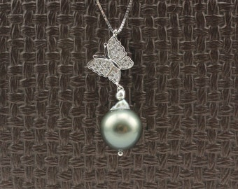 Black Tahitian Pearl Sterling silver Necklace 131207