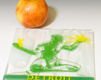 Greetings from Detroit Fused Glass Trivet - Made to order
