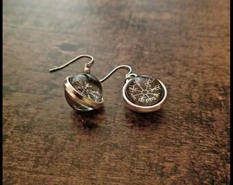 Vegvisir Earrings Silver Rune Compass Rune Magic Protector Island Weather Viking Icelandic Germanic Germanic german