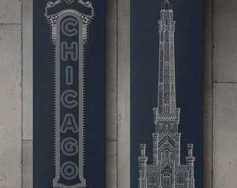 """Chicago Canvas Wraps, Chicago Water Tower & Chicago Theatre Sign, 10 x 30"""", Chicago Wall Art, Chicago Canvas Prints"""