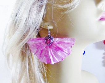 Rose Quartz Pantone 2016 Color Art Nouveau Large Fan Earrings Heart Dangles Artisan Handmade Bridal Prom Jewelry Runway Statement