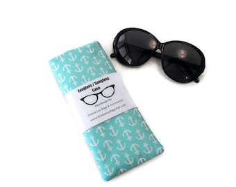 Sunglass or Eyeglass Case, Nautical Anchor, Turquoise Blue, Padded Fabric Glasses Pouch, Mother's Day or Birthday Gift For Women