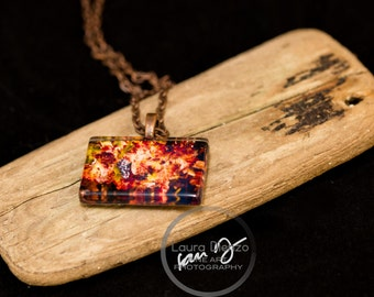 Wine Grapes Photo Pendant with Antique Copper Chain