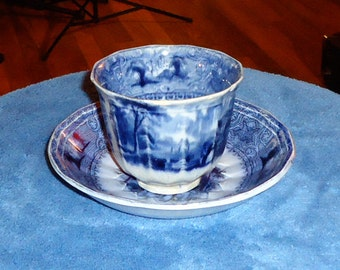 "1842 – 1857 E Challinor Flow Blue Cup and Saucer ""Lozere"" pattern"