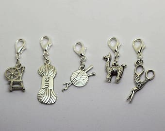 Knitting and Spinning Knitting / Crochet Stitch Markers -set of 5