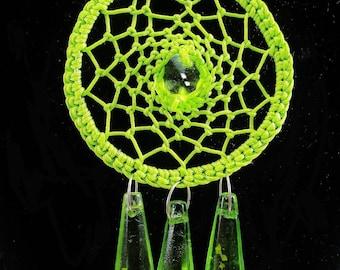 Super Stylescollier green textile pendant necklace. dream catcher; DreamCatcher.