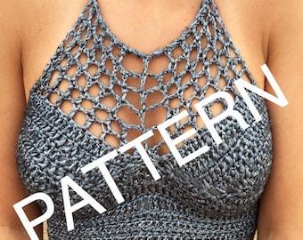 Crochet Silver Festival Halter Crop Top Pattern