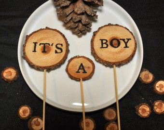 Woodland Baby Shower Cake Topper 3pcs- Shower Cake Decorations - It's a Boy - Wood Slices - Woodland Baby Shower - Personalized Cake Toppers