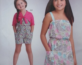 Girls Romper Pattern and Knit Cardigan Pattern Simplicity A1145 Child Girls Sizes 3-14 All Sizes Included Summer Romper Pattern