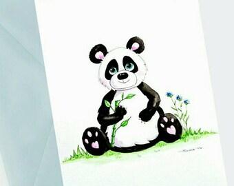Cute Panda Card, Panda gift, Watercolour Art, Panda Birthday Card, Personalised Card, Cute bear card, Children's gift, Animal Birthday Card