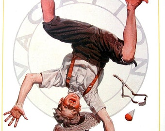 1985 Norman Rockwell Print - Summer Vacation - Boy Doing Cartwheel - Vintage Book Page