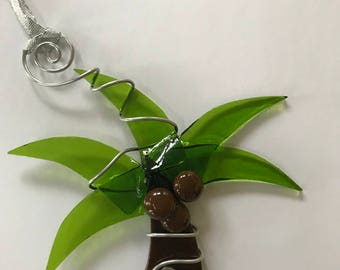Palm Tree, Fused Glass, Christmas Ornament