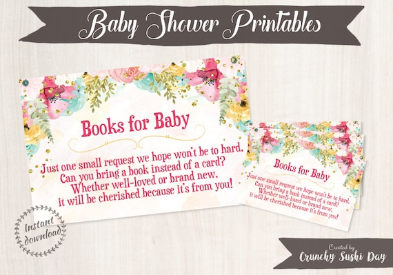 Printable Baby Shower Book Insert, Bring a Book Card, Books For Baby, Baby Shower, Floral, Party, Baby Shower Decorations, Teal, Pink 001