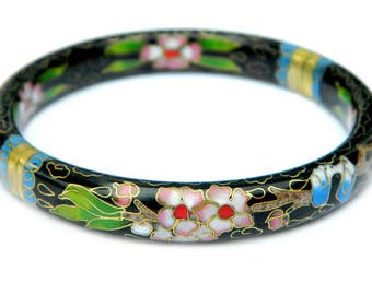 Asian Cloisonné Enamel Bangle Bracelet Chinese Floral Design Pink Flowers Green Leaves On Black Vintage Jewelry Collectible Gift For Her
