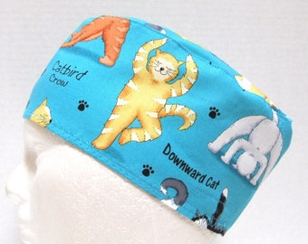 Veterinarian Surgical Cap, Scrub Hat or Chemo Hat Yoga Cats