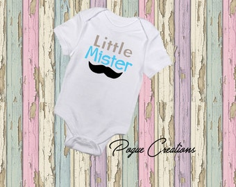 Little Brother - Little Mister - Mustache - Custom - New Baby - Baby Shower Gift - Infant Shirt - Coming Home Outfit - Sibling Shirt