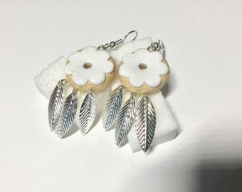 white style donuts polymer clay dream catcher earrings