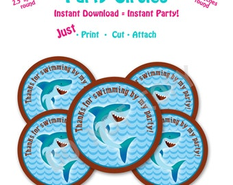 Shark Birthday Party  Favor Tags -- Instant Download -   Printable Shark Favor Tags