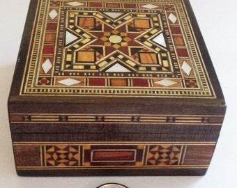 Wedding Ring Box, Jewelry box, small jewelry box, wooden jewelry box, Syrian Mosaic, Syrian Art, Trinket Box, Keepsake box, decor, Storage